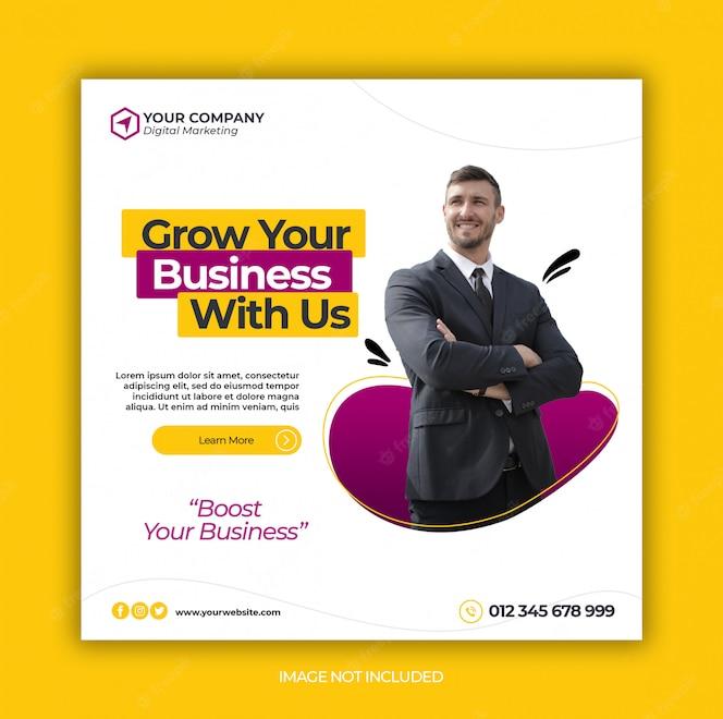 Бизнес продвижение и корпоративные социальные медиа баннер шаблон или квадратный флаер