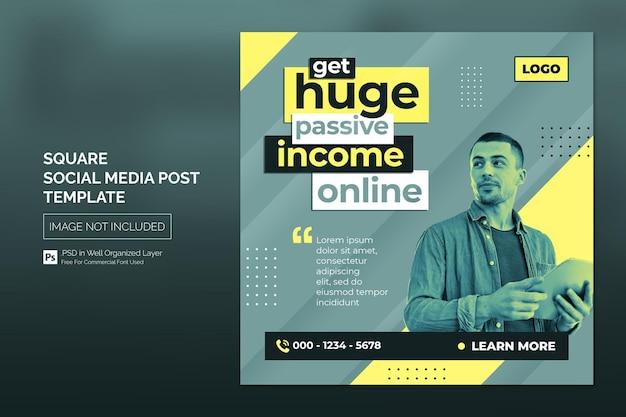 비즈니스 프로모션 및 기업 소셜 미디어 게시물 또는 사각형 배너 템플릿