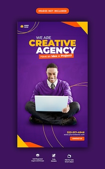 Бизнес-продвижение и креативный шаблон истории instagram