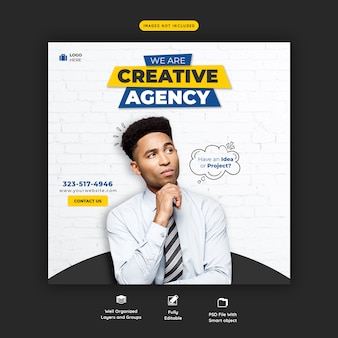 Продвижение бизнеса и креативный шаблон баннера в социальных сетях