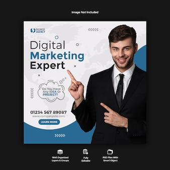 Business promotion and corporate social media post banner template