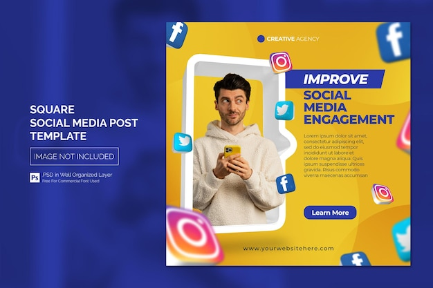 Business promotion and corporate social media post or square banner template