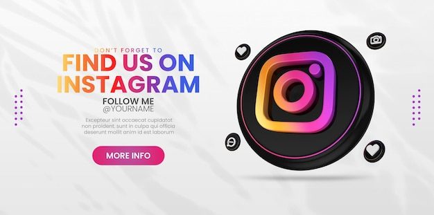 Business promotion with 3d render instagram logo template