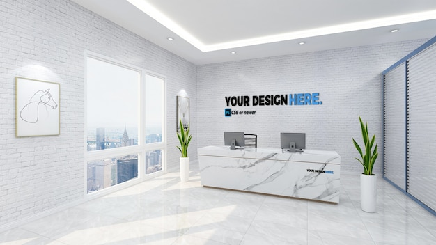 Business reception front desk mockup