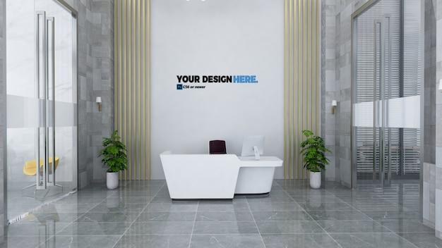 Business reception front desk mockup