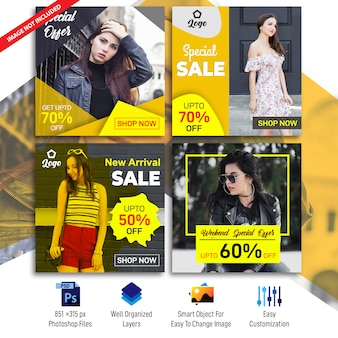 Business sale social banners template