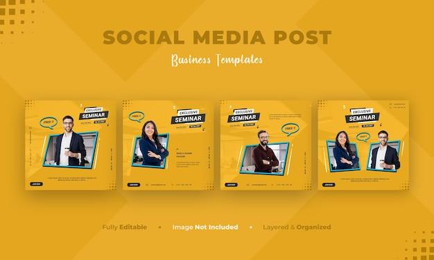ビジネスソーシャルメディアバナーとinstagramの投稿テンプレート