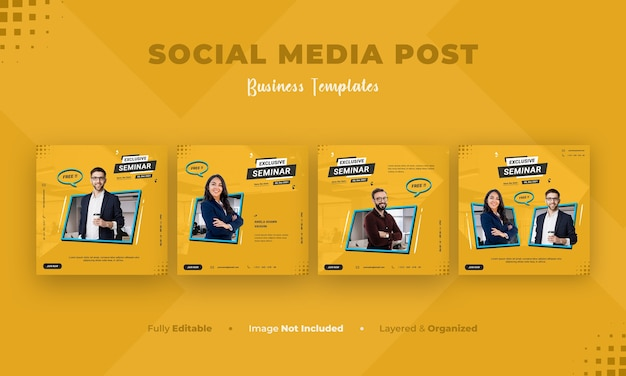 Business social media banner and instagram post template