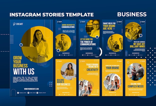 Business social media stories template with photo