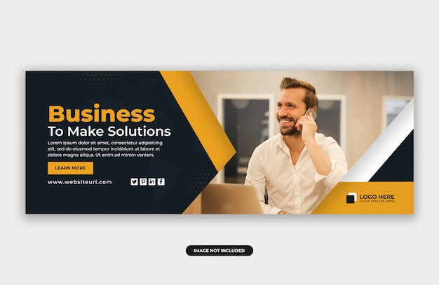Business solutions facebook cover banner design template