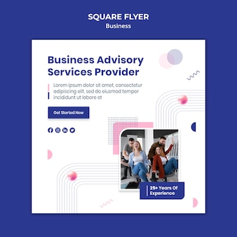 Business square flyer template with photo