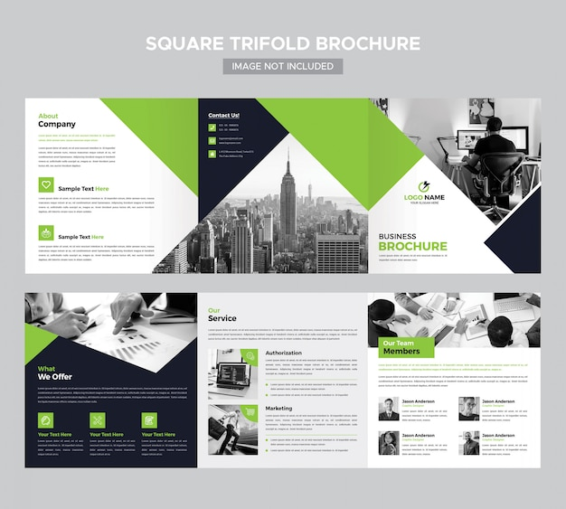 Business square trifold brochure template