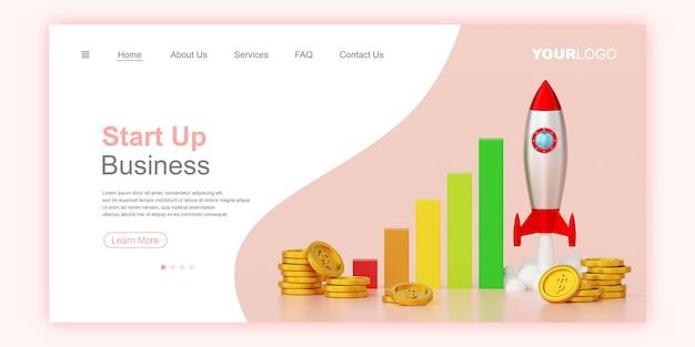 Business start up concept web banner landing page template 3d illustration