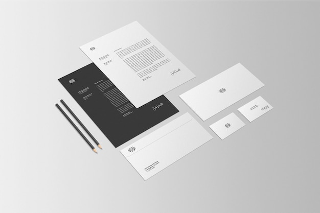 Business stationary set scene mockup