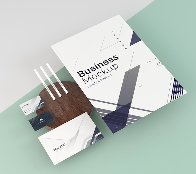 Business stationery mock-up arrangement copy space