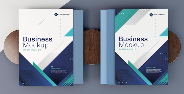 Business stationery mock-up arrangement cover books
