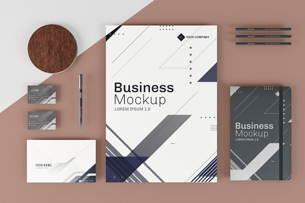 Business stationery mock-up arrangement top view
