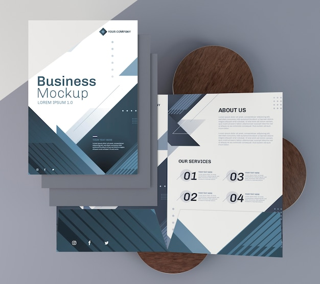 Business stationery mock-up flyer top view