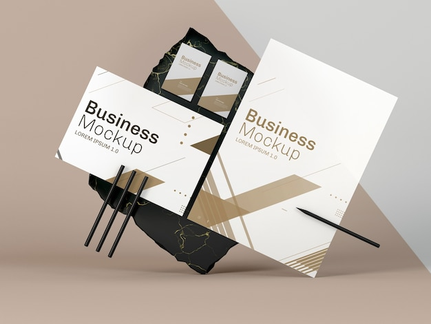 Business stationery mock-up front view