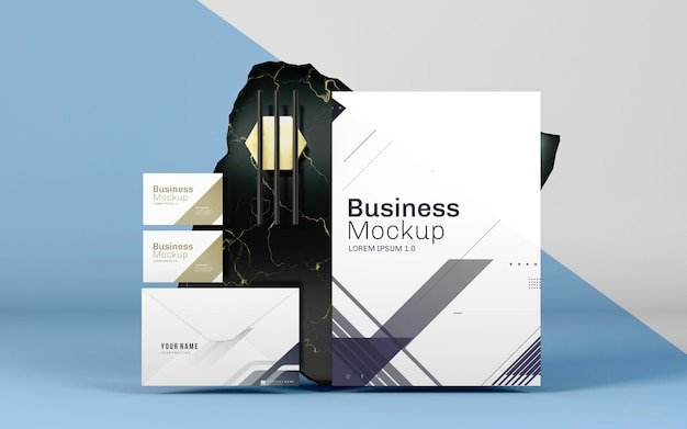 Business stationery mock-up and marble