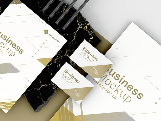 Макет бизнес-канцелярских товаров на белом оттенке