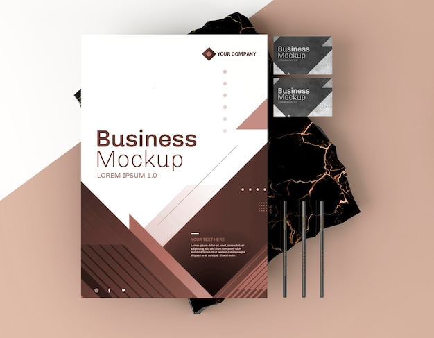 Business stationery mock-up poster top view