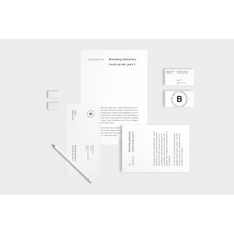 Business stationery mock up on white background