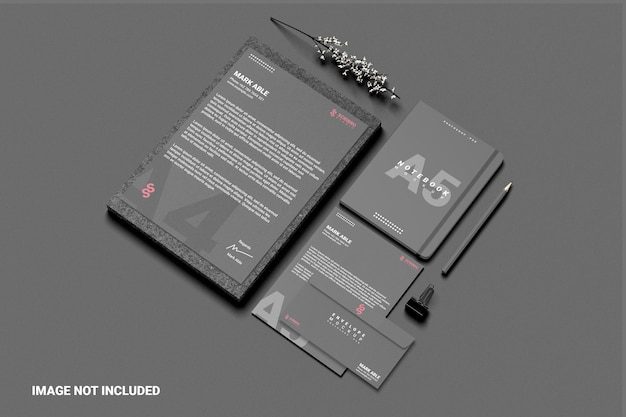 Business stationery mockup right view