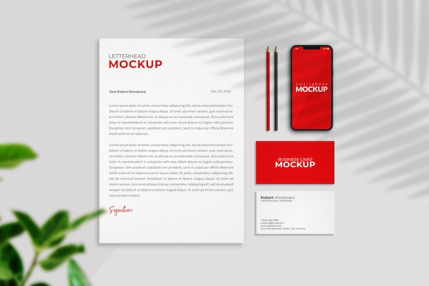Business stationery mockup top view