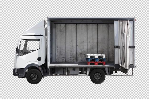 白い背景に隔離されたビジネスストレージトラック