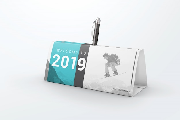 Business table calendar pen holder mockup