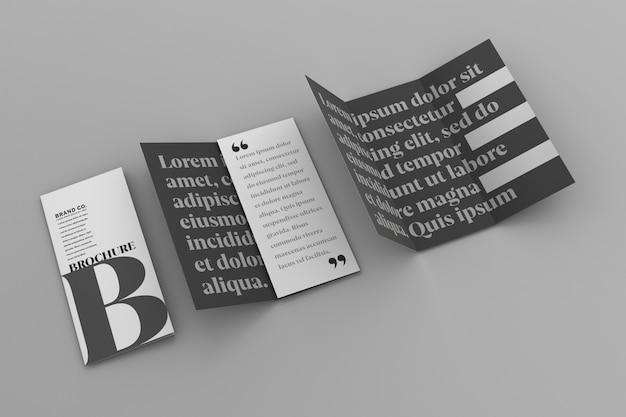 ビジネス3つ折りパンフレットのテンプレートモックアップ