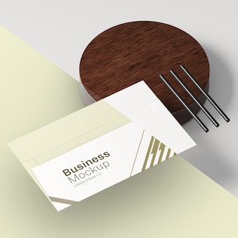 Business visiting card mock-up and pencils