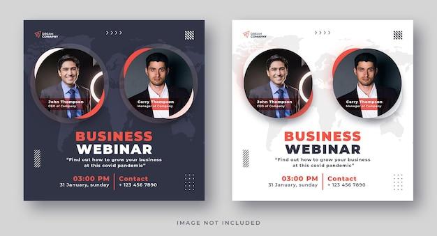 Business webinar conference social media banner instagram post set