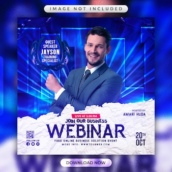 Флаер бизнес-вебинара или шаблон рекламного баннера в социальных сетях