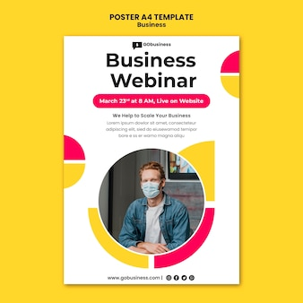 Business webinar poster template
