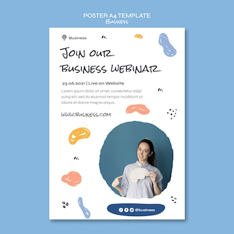 Modello di poster per webinar aziendali