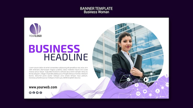 Business woman banner template