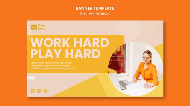 Business woman concept banner template