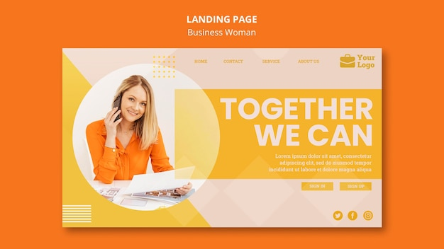 Business woman concept landing page template
