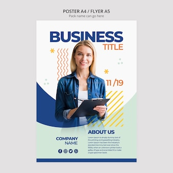 Business woman content for poster template