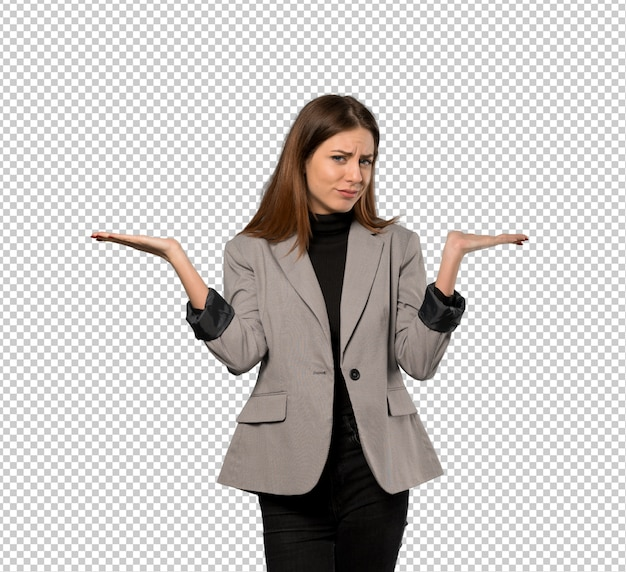 Business woman having doubts while raising hands