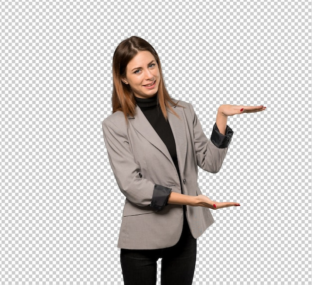Business woman holding copyspace to insert an ad