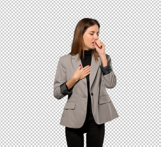 Business woman is suffering with cough and feeling bad