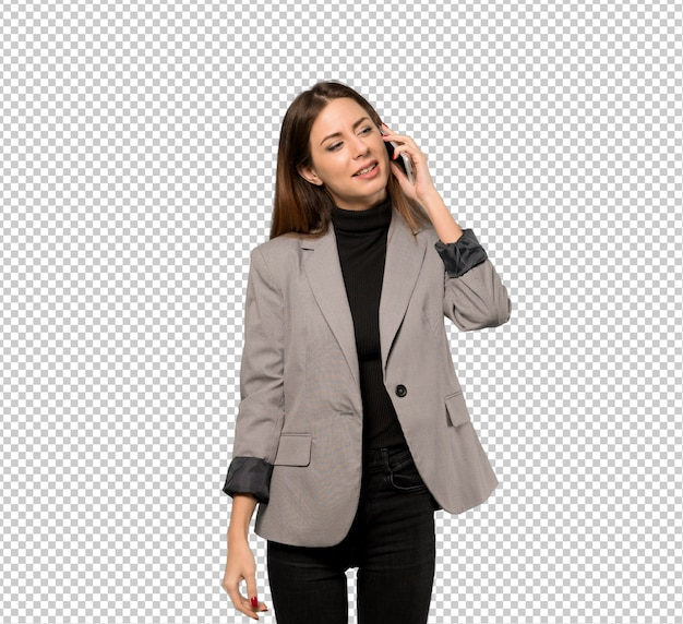 Business woman keeping a conversation with the mobile phone