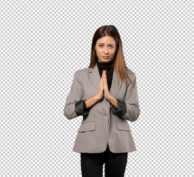 Business woman keeps palm together. person asks for something