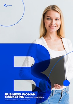Business woman on marketing content template