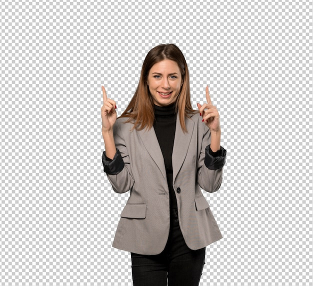 Business woman pointing with the index finger a great idea