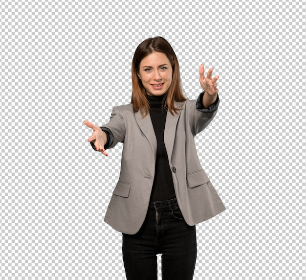 Business woman presenting and inviting to come with hand