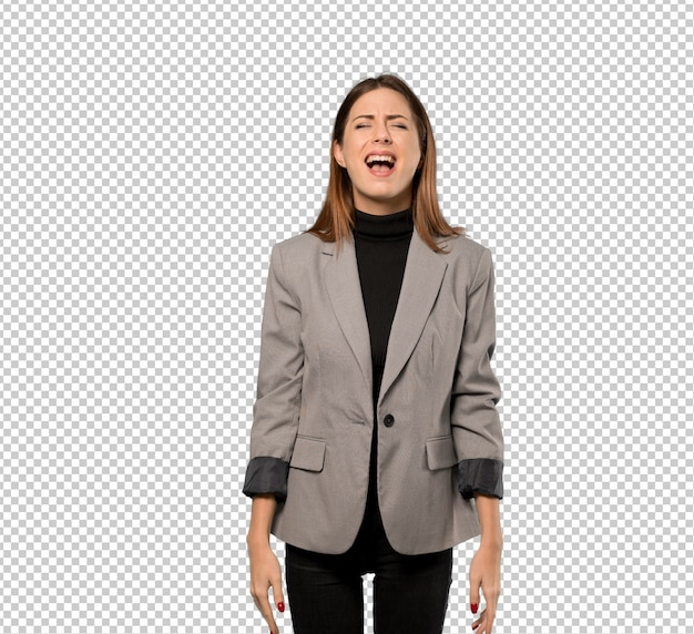 Business woman shouting to the front with mouth wide open